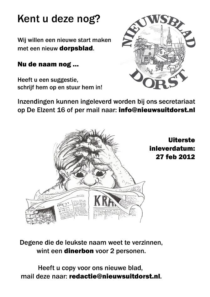 Nieuw start en Naam nieuwsblad Dorst